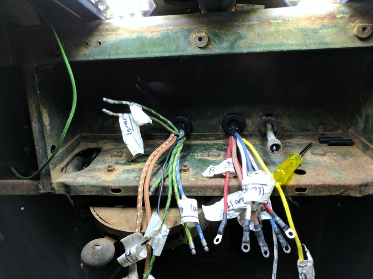 Dashboard cables coming through bulkhead