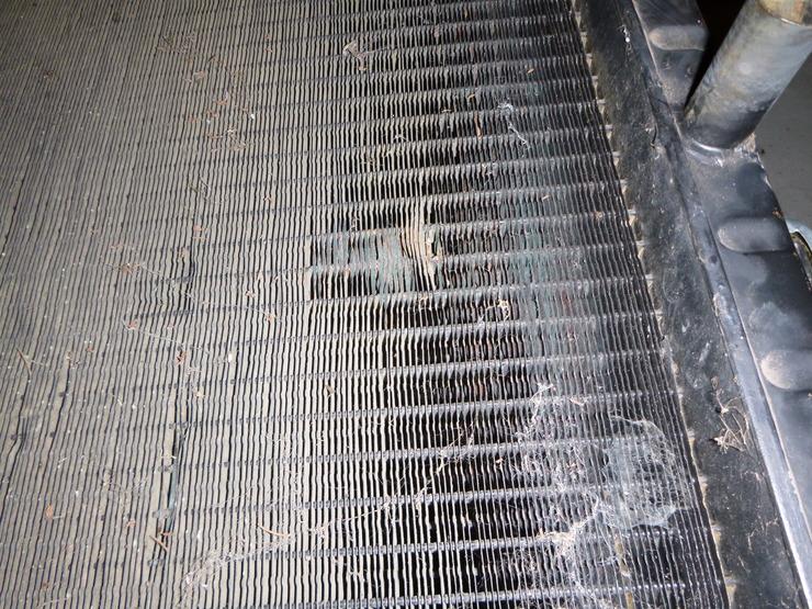 Close-up of radiator damage