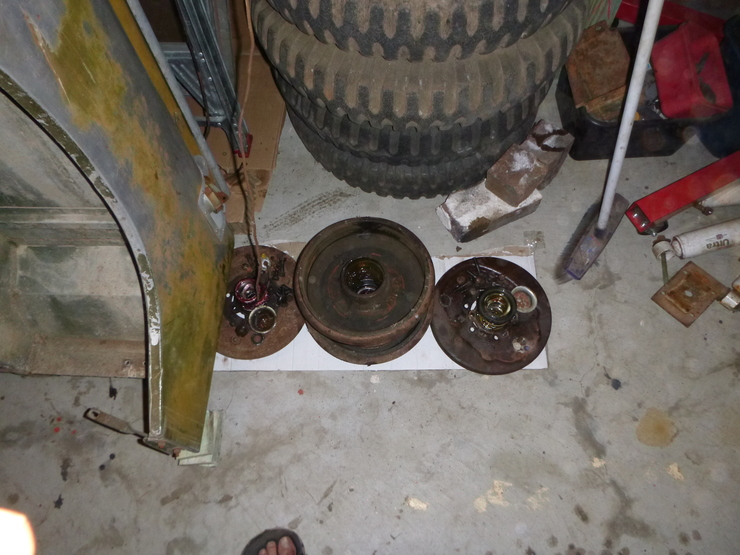 Removed brakes lying on ground