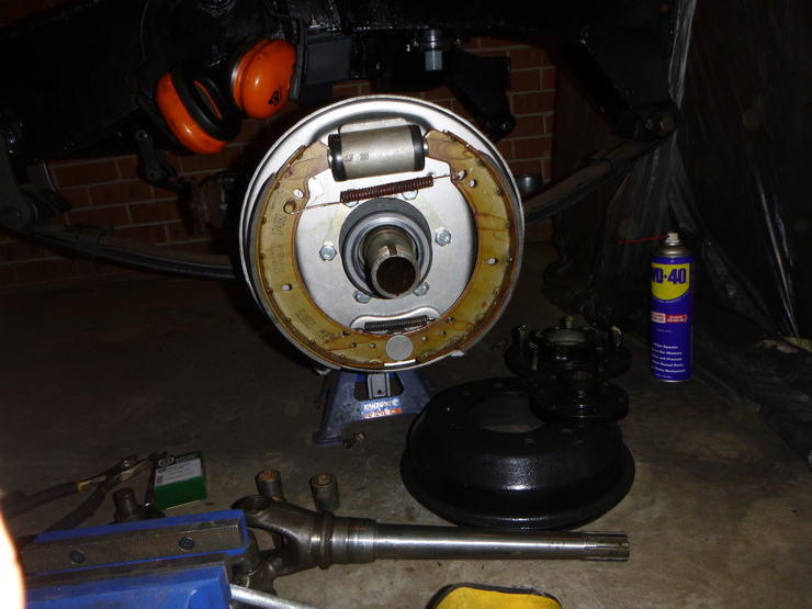 Front view of installed brake components