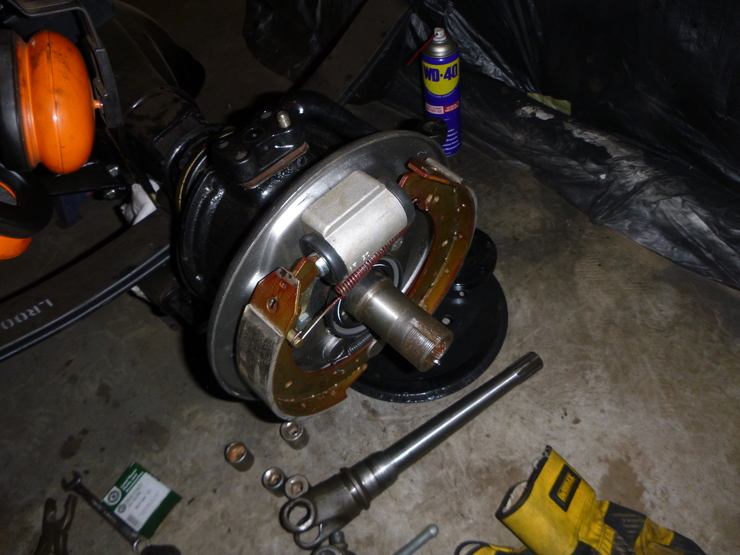 Top view of installed brake components