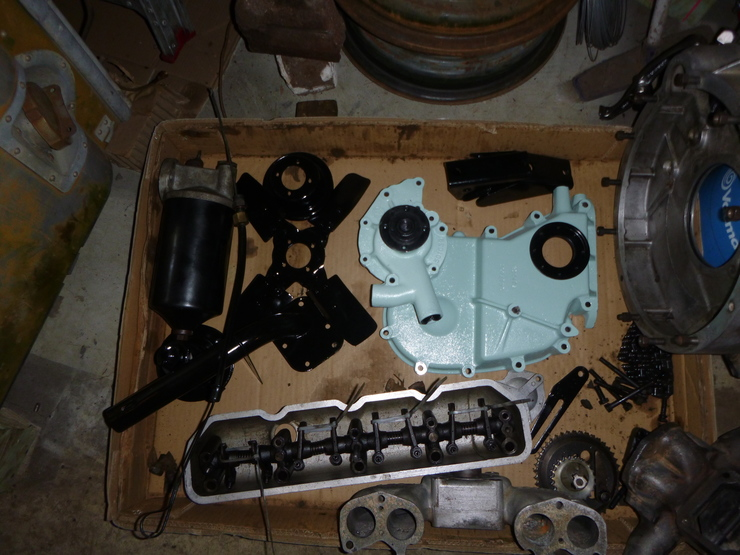 Collection of painted engine parts