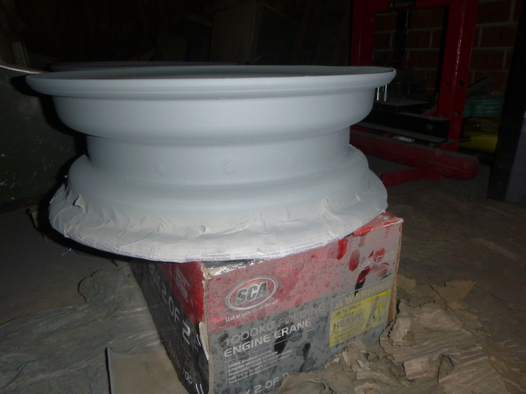 Close-up of wheel in etch primer