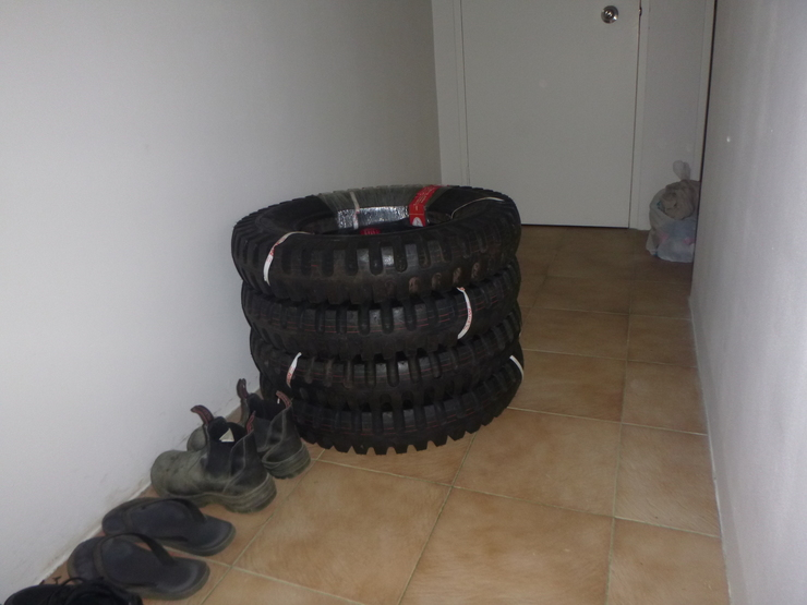 Pile of tyres indoors