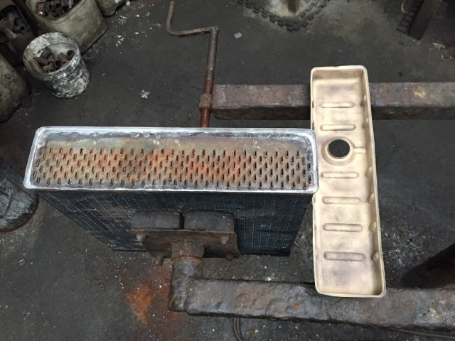 Radiator core and tank after cleaning