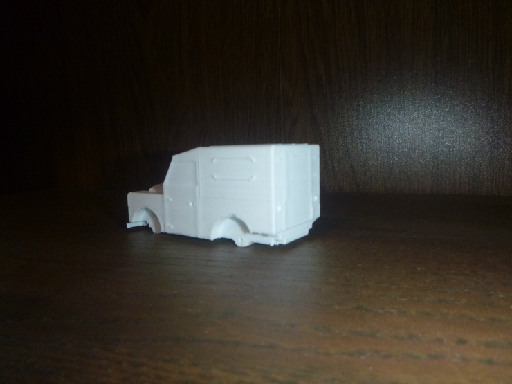 3D-printed Land Rover: rear oblique view