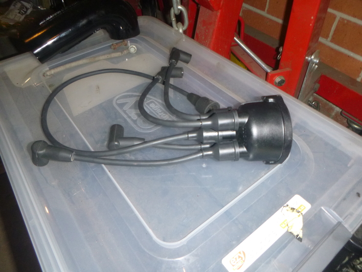 Distributor cap with new HT leads installed