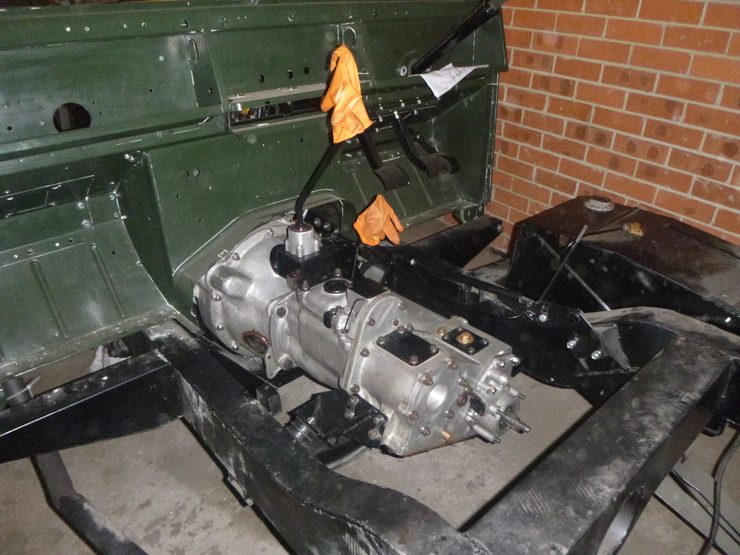 Passenger-side view of installed gearbox