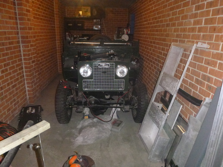 Front of car, with grille, headlights and badge in place