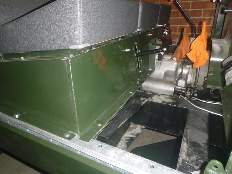 Close-up of front of seatbox