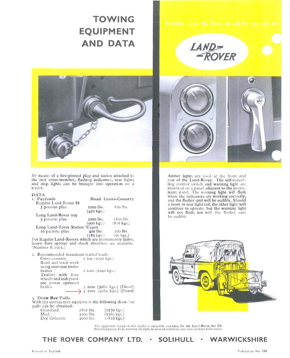 Page from original accessory brochure showing towing capacities